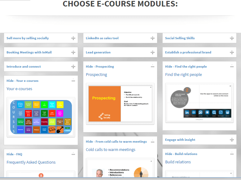 E-course modules – overview